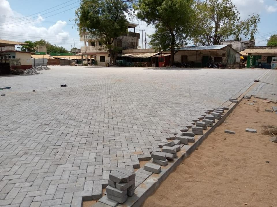 INFRASTRUCTURE BUILDING…  Ongoing phase 2 of  Cabro works at Mpeketoni new stage.