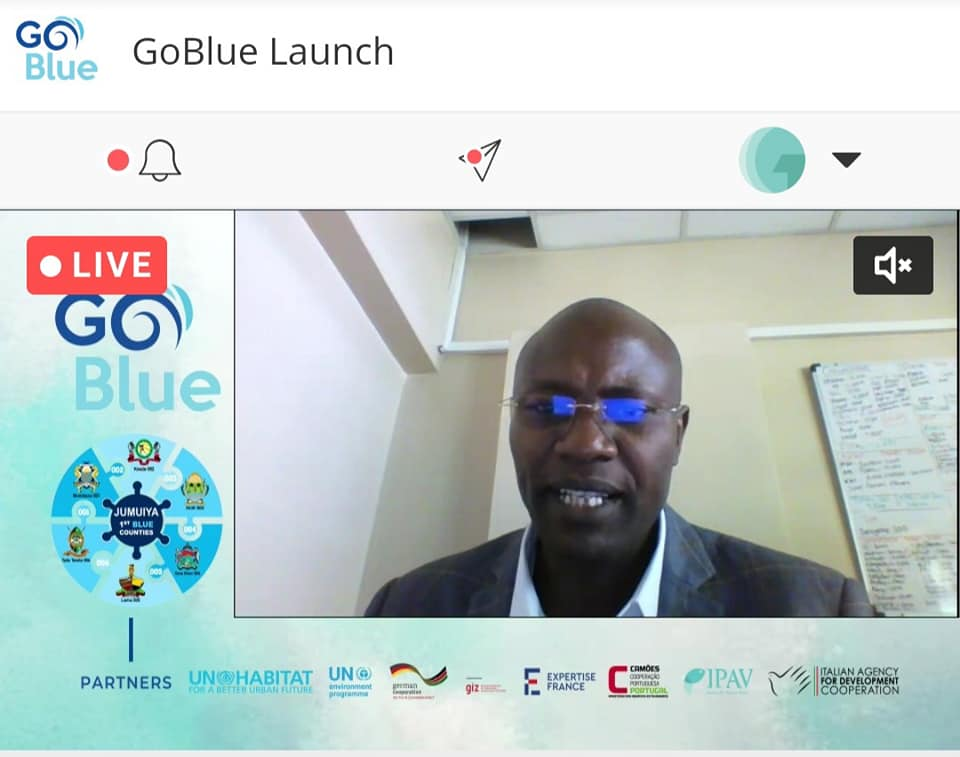 CECM EDUCATION, VOCATIONAL TRAINING, TECHNOLOGY, GENDER, SPORTS ,YOUTH AND  SOCIAL SERVICES PAUL THAIRU  REPRESENTING H.E  GOVERNOR FAHIM TWAHA DURING THE  LAUNCH OF THE GO BLUE PROJECT