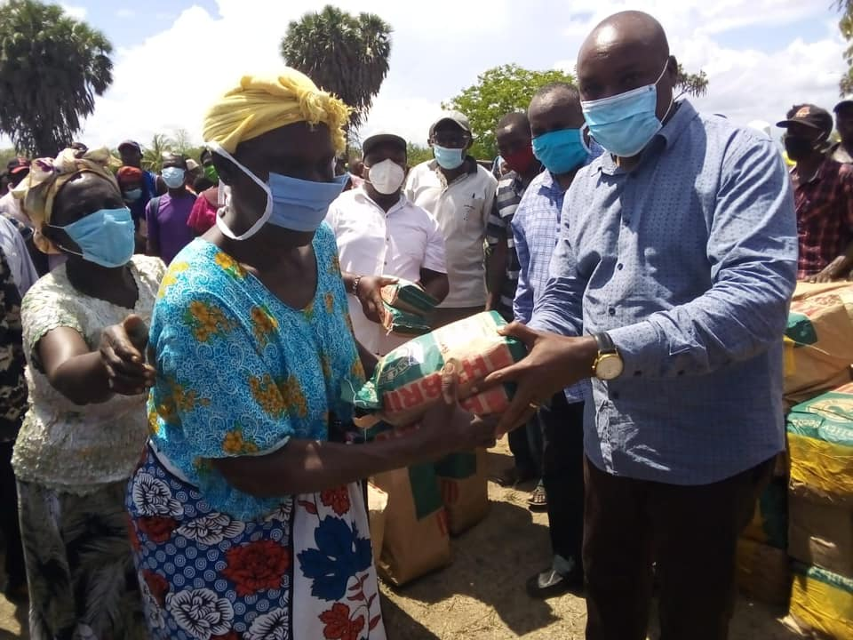 Distribution of high yield PH4 maize seeds to over 450 farmers from Miruji, Bopwe, and Lumshi at Miruji Primary school in Hongwe ward.